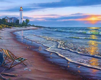 1/2 PRICE SALE***DP8908* Sunrise Beach Scene** Beautifully rendered for Elizabeth Studio's/Perfect For Quilting/Thread Painting/Embellisment