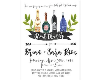 stock the bar invitation printable couples shower invite