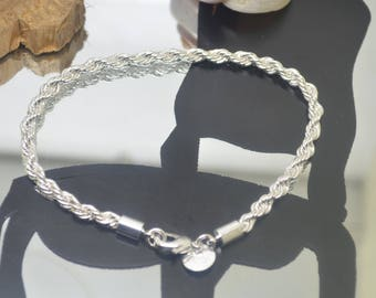 Bracelet chain twisted 3 mm plated Silver 925 length 20.5 cm