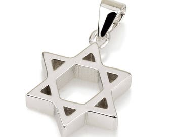 Star Of David Pendant With Chain Sterling Silver 925