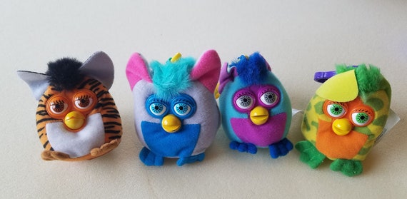 FURBY plush KEYCHAINS Backpack Clip Ons lot of 4 2000 fast food stuffed toys collectibles