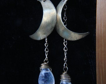 Silver Crescent Moons with Rainbow Moonstone Earrings