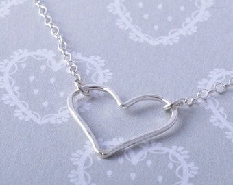 Sterling Silver hammered heart necklace handmade genuine sterling silver