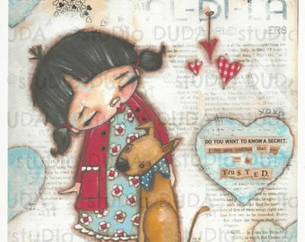 Print of my Original Girl and Dog Friendship Mixed Media Painting -Trusted Confidant