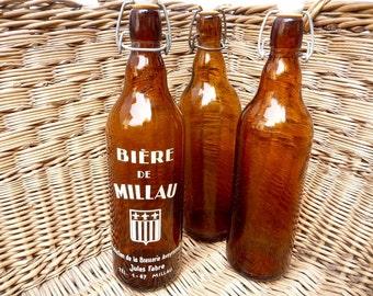 Vintage French Bottles, Set of 3 Beer Bottles, Porcelain Tops, French Kitchen, Wine Decor, Man Cave Decor