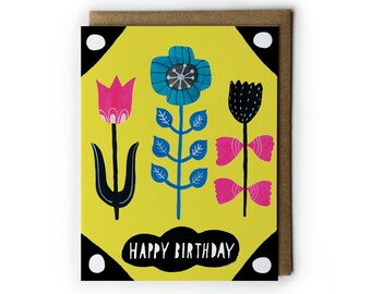 Flower Birthday Card, Happy Birthday, Folk Floral Card, Flower Illustration, Pink Tulip, Blue Flower, Yellow, Blank Card, Folded Notecard