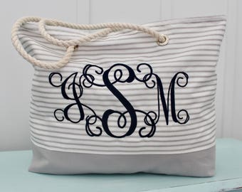 Personalized Ticking Tote Bag - Monogragrammed Beach Bag - Bridesmaid Gift  - Teacher Bag - Ticking Bag - Market Bag - Wedding Party Gift