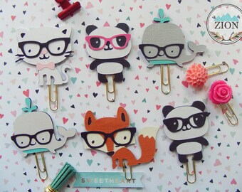 Nerdy Paper Clips | Nerdy Kawaii Animals | Nerdy Kitty, Panda, Whale & Fox | Happy Planner