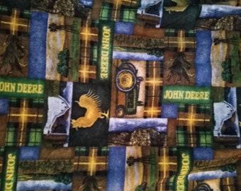 John Deere Fleece Fabric Plaid