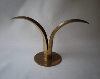 Scandinavian Gold Brass Lily Candle Holder by Ivar Alenius Bjork for Ystad - Metall of Sweden