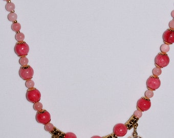 Springtime Collection/Dark Coral Necklace Set/Dangling Medallions/Gold and Coral Combinations