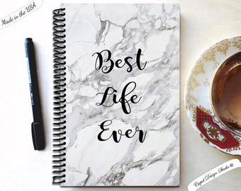 Best life ever / marble journal, gift for bride from bridesmaid, Blank notebook, Handmade journal, spiral notebook,