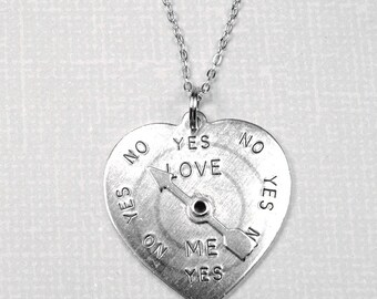 Heart Love Meter Spinner Necklace silver plated pewter, initial necklace, initial hand stamped, personalized, monogram