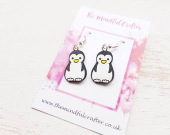 Penguin earrings penguin jewellery penguin dangle earrings penguin jewelry penguins christmas earrings winter penguin accessory penguin gift