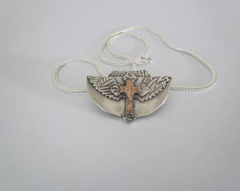 """Item 6123 - """"Spreading Faith"""" - Fine & Sterling Silver Hand sculpted carved Cross Angel Wings 18K Rose Gold Leather and Silver Chain"""