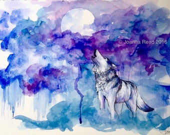 Wolf Song - Original Watercolor Painting