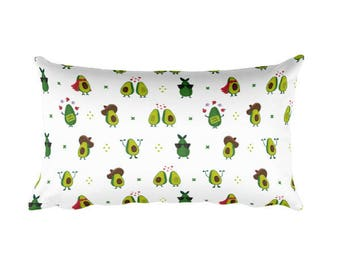 """Rectangular 12""""x20"""" Avocado Pattern Throw Pillow case, Cute Illustrated Waist Throw Cushion Cover, For Home Decor, on sofa, Chair or bed"""