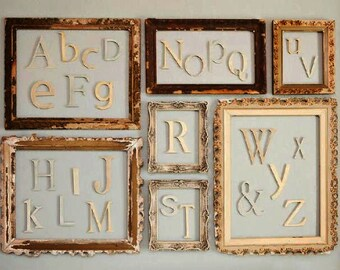 Alphabet Letters Set - Unfinished Letters- Wood Letters- Wooden Letters- Baby SHower Gift- Nursery Decor- Children Decor- Home Accent
