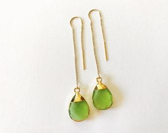 Green Chalcedony Ear Threads