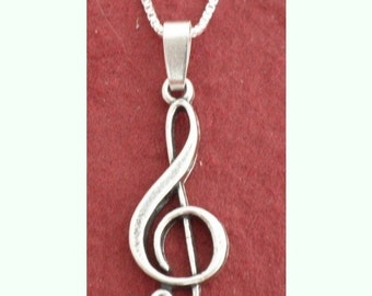 Sterling Silver Treble Clef NECKLACE Music Note 925