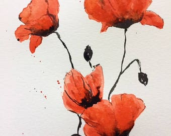 Watercolor painting Poppies painting Watercolor poppies Gift for love Mothers day Delicate poppies Vivid art Romantic floral art
