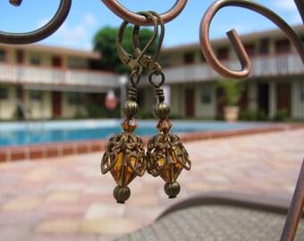 Honey Bee Brass Filigree and Topaz Swarovski Crystal Vintage Style Drop Earrings