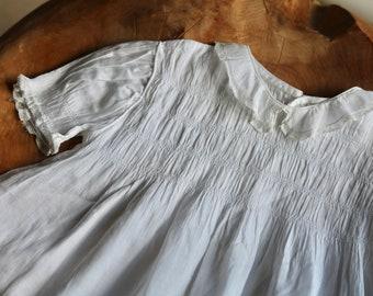 Antique Handmade Delicate White Baby Dress