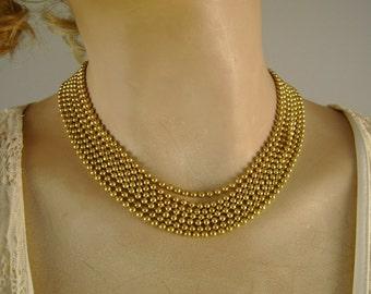 Vintage Deltah Goldtone Ball Chain 7 Strand Necklace in Original Pink Box