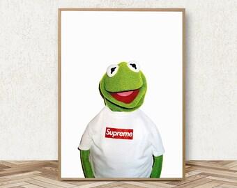 Kermit Supreme Poster Supreme Print Kermit The Frog Puppet Supreme Art Supreme Clothing Kermit In Shirt Supreme Accessories Supreme Wall Art