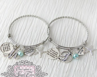 Mother of Bride Bracelet  and Mother of Groom Bracelet- Beach Theme- Thank you for raising-Starfish Wedding Jewelry-Expandable Bangle, Blue