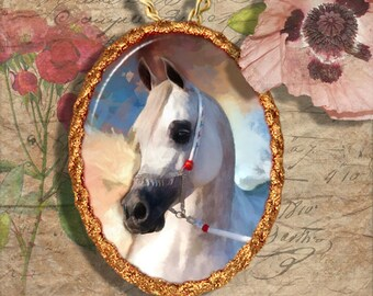 Arabian Horse Jewelry Pendant Necklace Handcrafted Ceramic