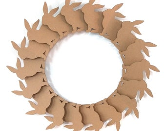 Bunny wreath  - cardboard decoration for self-assembly