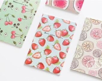A5 Fruit Lined Notebook,Minimalist Notebook, Lined Notebook, Blank Notebook, Strawberry, Cherry, Lemon, Watermelon,Korean Stationery, Kawaii
