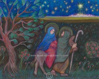 Journey to Bethlehem - Christmas Art Print - Jesus Mary Joseph - in Three Sizes