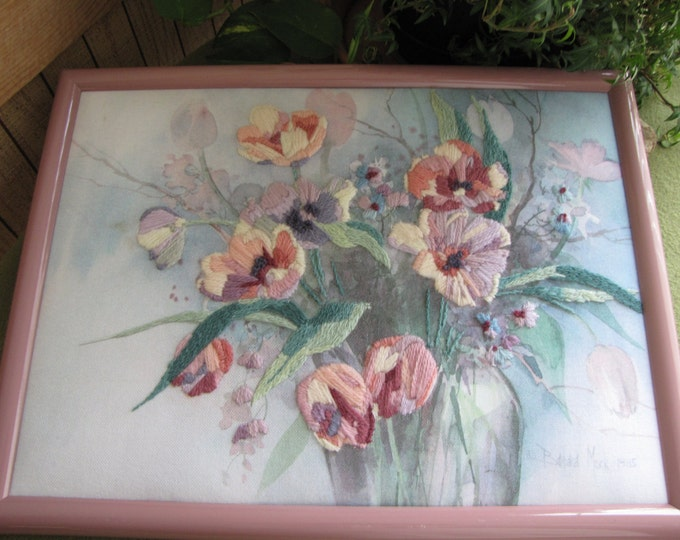 Vintage Barbara Mock Watercolor and Yarn Flowers Framed Picture Crewel Print