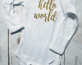 hello world, baby shower gift, baby announcement, bringing home baby, baby hospital gown, cute baby bodysuit, newborn baby outfit,