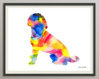 labradoodle dog art print watercolor print poster painting wall art silhouette , dog wall art
