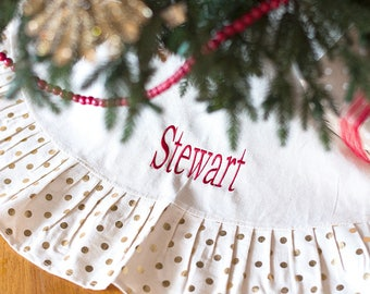 Gold Dot Monogrammed Christmas Tree Skirt - Christmas Tree Skirt Personalized - Personalized Tree Skirt - Monogrammed Holiday Decor