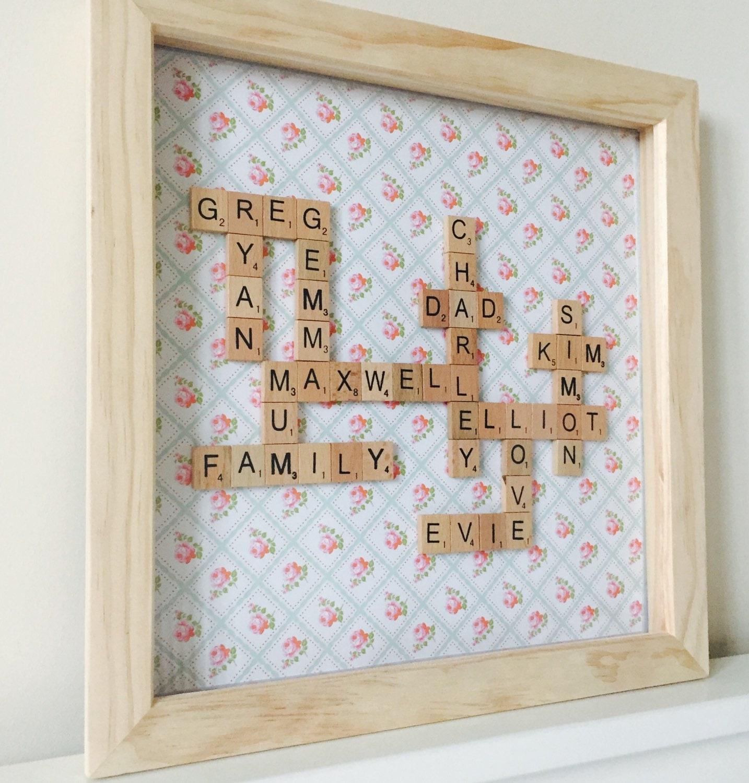 large family name frame family tree scrabble art 14\
