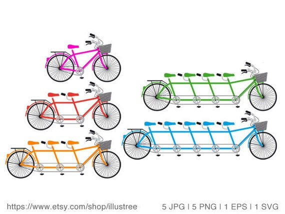 Tandem Bicycle Family Bike Team Clip Art Set Illustration Commercial Use Vector PNG EPS SVG Files Instant Download From Illustree On Etsy