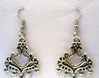 Silver Plated Metal Chandelier Earrings or Corded Necklace