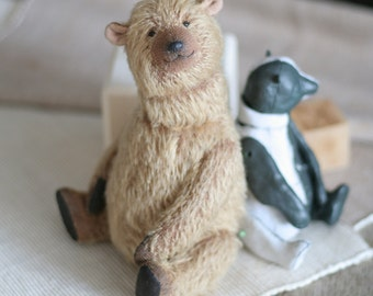 Teddybeer handgemaakte teddybeer handgemaakte toy teddybeer uit mohair zachte Teddy bear teddybeer bruin favoriete speeltje collectible speelgoed