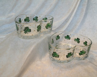 SHAMROCK CANDY DISHES heart shaped set of two