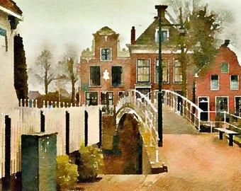 Dokkum the Netherlands Original Watercolor Brush Illustration Painting