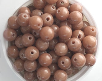 Tan Brown Mountain Jade Beads, Dyed Dolomite Marble Beads, 6mm round, 20 pcs, beads for jewelry making, jewelry supplies