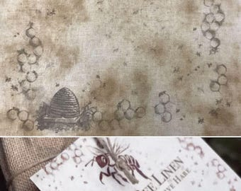 Linen: Hand Dyed 30 count Printed Prim Bee, from the Primitive Hare