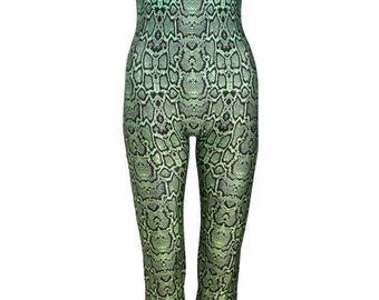 Snake Green Unitard Catsuit Jumpsuit Romper Top Womens Ladies Tumblr Hipster Grunge Retro Vtg Indie Bogho Festival Animal Print Leopard