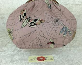 Gothic web small frame handbag purse bag fabric clutch shoulder bag frame purse kiss clasp bag Handmade Alexander Henry Ghastlie Web