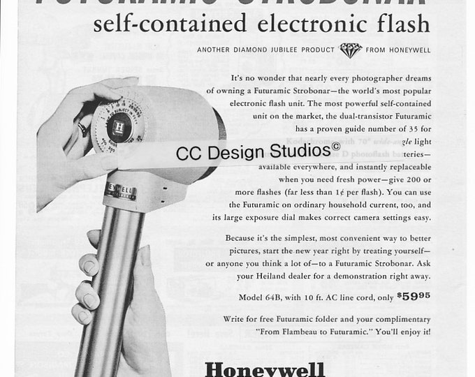 Vintage Honeywell Electronic Flash Strobonar Magazine Ad 1960 - Collectible Photography / Camera Ad - Heiland Photo Products - Wall Decor