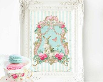 Rabbit print, vintage style, white rabbit, nursery decor, nursery print, Easter print, A4 giclee